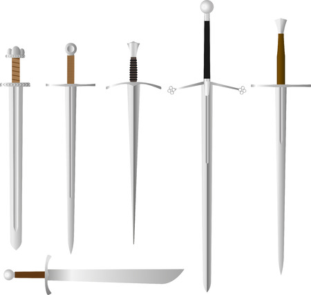 arming: Vector set of medieval swords, steel melee weapon. Carolingian and Romanesque or Knightly, or Arming sword, falchion, claymore and longsword or great, or bastard sword .