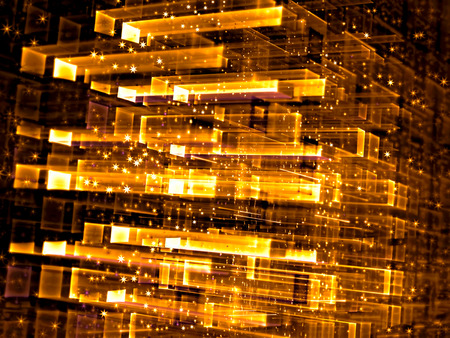 Abstract tech fractal background - computer-generated image. Digital art: golden glass cube structure with rectangular grid, perspective, stars and glowing dots. For covers, posters, web design.