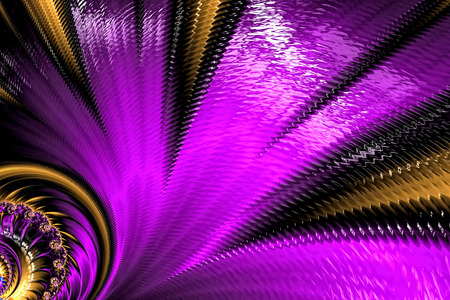 Unusual fractal flower - abstract computer-generated image. Digital art: glossy textured petals. For cards, covers, banners.