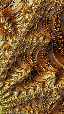 Golden fractal background - abstract computer-generated image. Digital art: intricate texture with metallic luster. For prints, puzzles, banners.