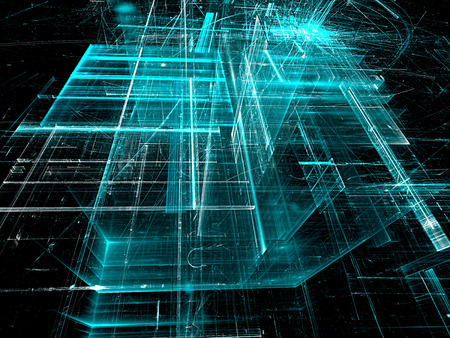 vanishing point: Abstract aquamarine tech background. Fractal art: glass walls on surreal building. Glowing lines and grid. Industry or technology concept. Computer-generated image
