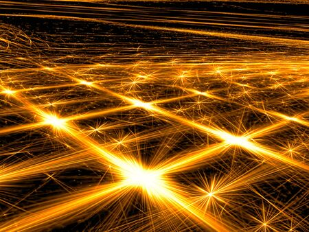 Abstract golden background -  computer-generated image. Fractal art: glowing lines with stars and rays. Perspective and light effects. For web design, covers, posters. Stock Photo