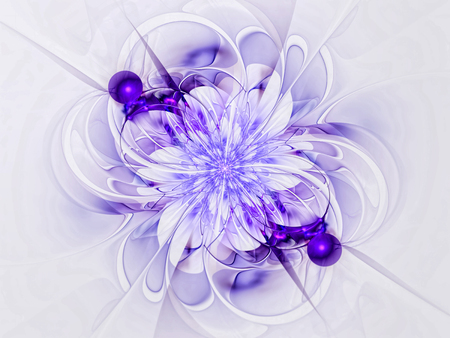 Fractal flower - abstract computer-generated image. Digital art: curls and curves like futuristic petals. White and blue background for cards, web design, posters.