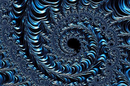 minted: Abstract metallic background - computer-generated image. Fractal geometry: a complex pattern of a plurality of coils of different size as if minted on a metal surface. For covers, banners, web design