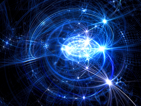 Abstract technology background - computer-generated image. Fractal art: glowing curls with stars and twinkles. Tech or space theme backdrop. Stock Photo