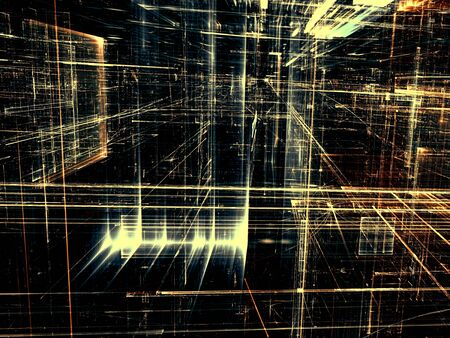 3 point perspective: Abstract technology background -  computer-generated image. Fractal geometry: glass city street with light effects. Virtual reality or communication concept.