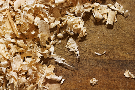 Thin, soft, twisted wood shavings on the rough wooden background. Backdrop with copyspace for the woodworking, carpentry, DIY themes design. Stock Photo