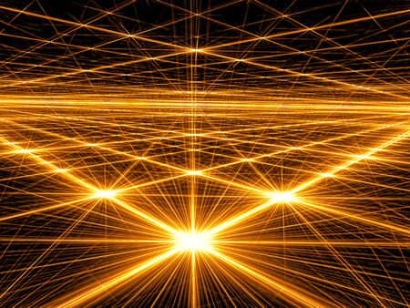 Abstract bright background - computer-generated image. Fractal geometry: bright stars and grid. Technology or space background for creative design projects. Stock Photo