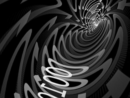 bytes: Abstract tech background - computer-generated image. Tunnel consisting of zero and one digit. Concept design element for internet, communication, information technology projects.