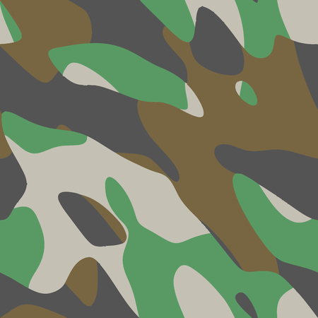 texturing: Vector seamless camouflage. classic four-color camo pattern. Image of distorted spots for backgrounds, prints on clothes, texturing