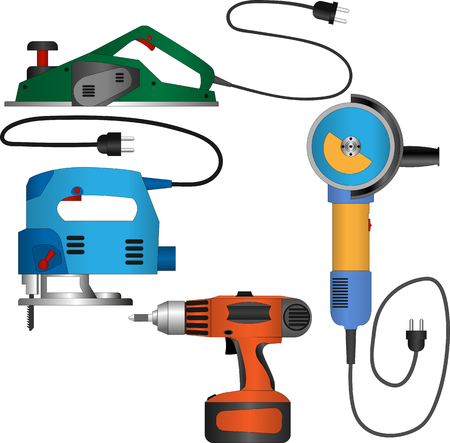 jig: Vector set of power tools with wires: planer, jig saw, electric screwdriver, angle grinder. Equipment for repair and construction. Cartoon style coloured icons.