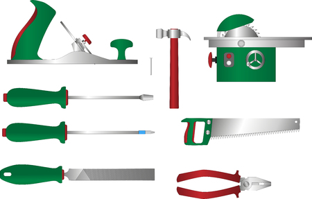 circular saw: Vector set of tools for working with wood: plane, screwdriver, pliers, file, saw handsaw, circular saw. Coloured cartoon style woodwork equipment. Illustration