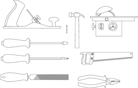 wood planer: set of tools for working with wood: Planer, screwdrivers, hacksaw, pliers, circular saw, a hammer, a file. Sketches of of vector icons. Illustration