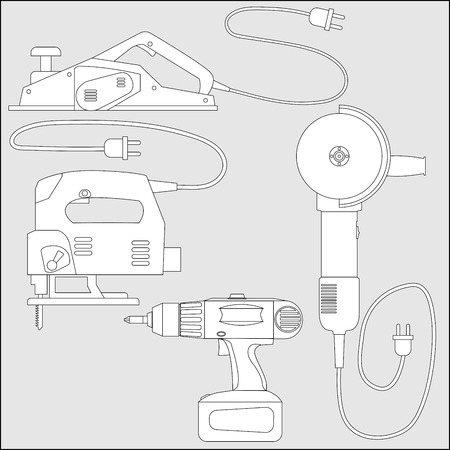 jig: Set of power tools: screwdriver, planer, jig saw, angle grinder. Vector outline sketch of equipment for construction and repair. Illustration