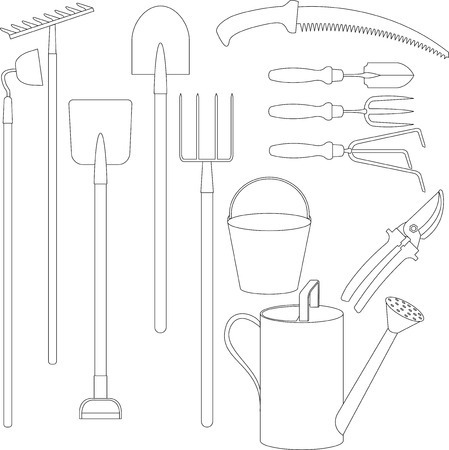 rakes: Set of hand tools for working in the garden: forks, shovels, rakes, hoes, pruning shears, watering can, bucket, garden saws. Outline sketch Illustration