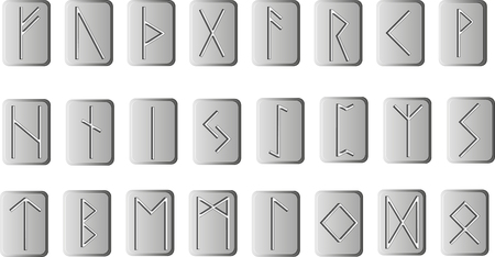 Vector set of runes on rectangular plates. Rune alphabet - futhark. Writing ancient Germans and Scandinavians. The mystical symbols. For design projects esoteric and occult themes.