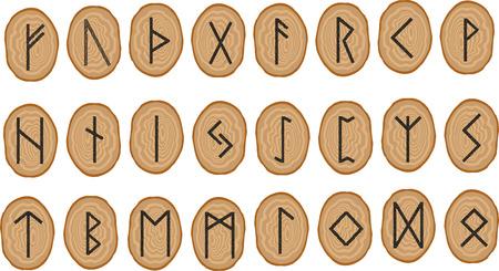 Conjunto de vectores de runas en platos de madera. Rune alfabeto - futhark. Escribiendo antiguos germanos y escandinavos. Los símbolos místicos. Para proyectos de diseño esotéricos y temas ocultos. Ilustración de vector