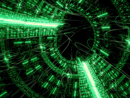web portal: Technology portal - abstract computer-generated image. Fractal geometry: round structure with chaos lines and curves. For covers, web design, posters.