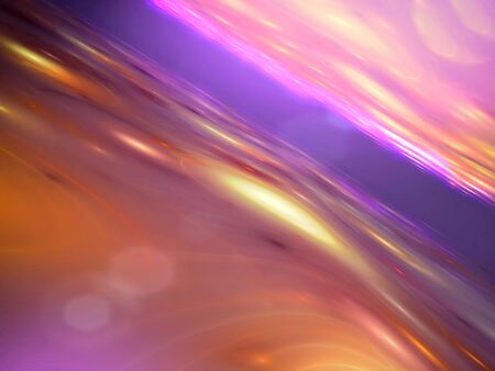 unreal: Unusual landscape - abstract computer-generated image. Fractal art: glossy surface with circles, curves and light effects. Futuristic background for banners, posters, web design.