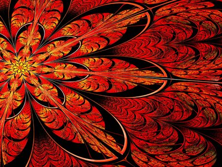 Fractal flower - abstract computer-generated image. Digital art: ornate red and yellow petals like mosaic or stained-glass. For cards, banners, puzzles.