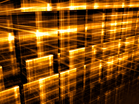 Golden background - abstract computer-generated image. Digital art: glowing in dark grid. Hi-tech or sci-fi concept backdrop or graphic design element. Stock Photo