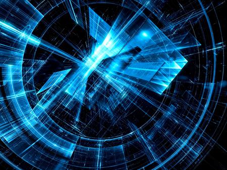 Sciencefiction- oder Informationstechnologiehintergrund - abstrakte computererzeugte Illustration 3d. Tech-Stil Scheibe oder Tunnel mit leuchtenden Linien und Punkten. Für Banner, Cover, Plakate. Standard-Bild