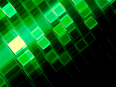 Green technology background with copy-space. Abstract computer-generated image. Fractal geometry - glowing cubes or cells of grid. For web design, covers, posters.