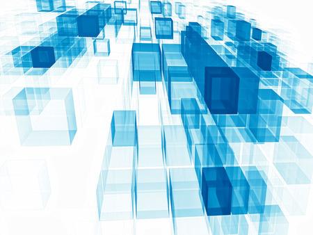 青い飛行キューブ - 白い背景に視点を持つ抽象的なコンピュータ生成3Dイラスト。ウェブデザイン、バナー、カバー用。ハイテクまたはデータサイエ 写真素材