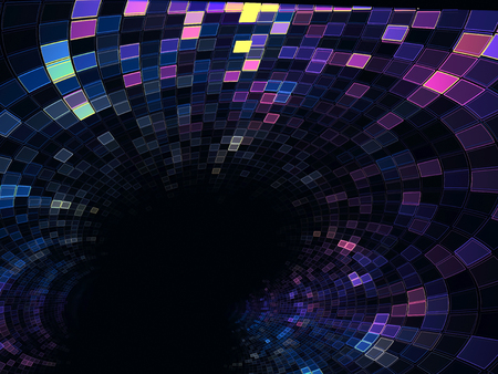 Abstract tech tunnel - digitally generated image fractal