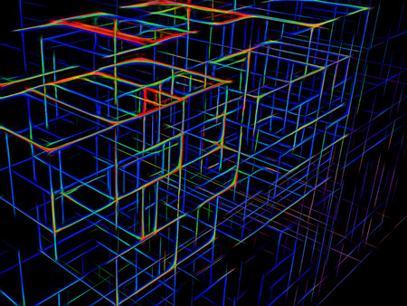 Neon cubes background - fractal digitally generated image