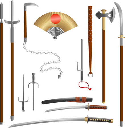 Japanese medieval samurai weapon blades and spears