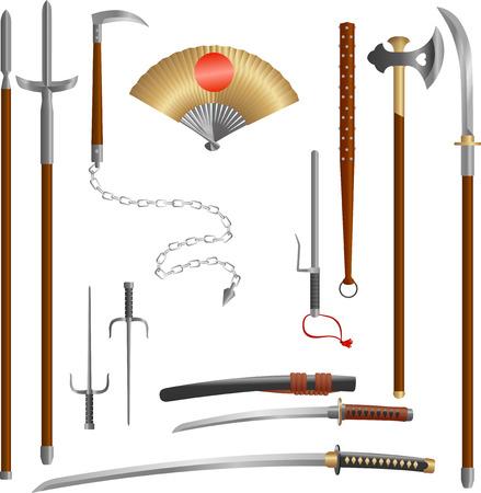 Japanische mittelalterliche Samurai-Waffenklingen und -speere