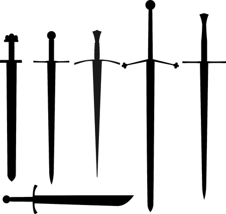 Set of medieval swords outline black isolated Illustration