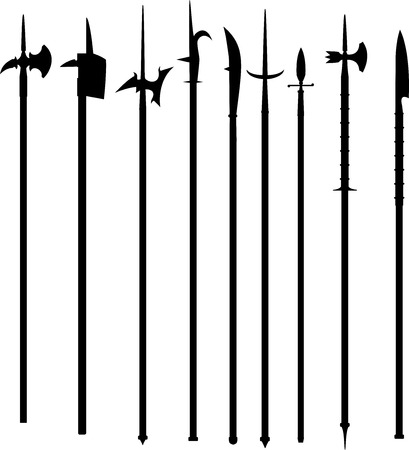 Set vector polearms weapons isolated on white background. This weapon was armed infantry in the European Middle Ages and Renaissance, is also suitable for fantasy.