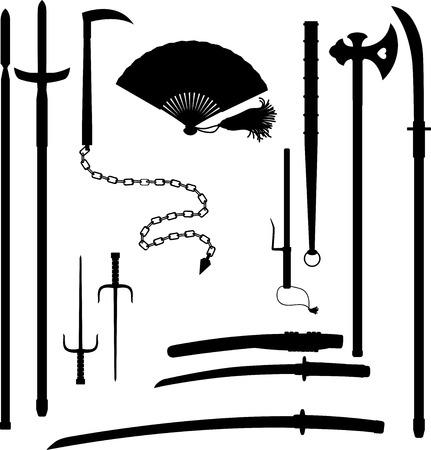 Japanese medieval samurai weapon historical blades katana and wakizashi, spears jumonji yari or magari yari outline isolated on white background.  イラスト・ベクター素材