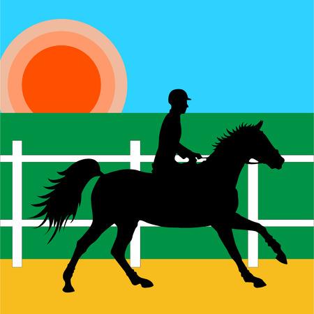 Umriss Reiter zu Pferd unter der aufgehenden Sonne in der Reithalle. Vektorgrafik