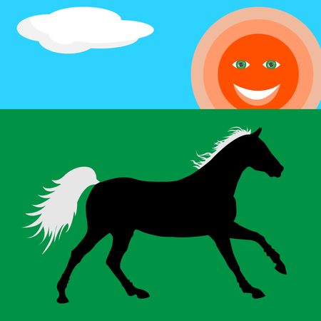 Happy horse silhouette on green meadow unde the sun illustration in the flat style.