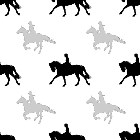 Black and gray riders silhouettes on white background