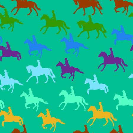 Colored outlines of horsemans which riding and jumping.