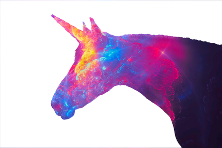Silhouette of a unicorn - the mythical animal. Image in profile, isolated on a white background and filled with a blurred fantastic ornament. Fantasy character. 스톡 콘텐츠