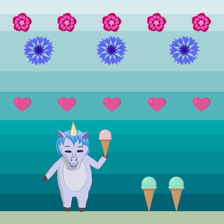 Unicorn with ice cream in the style of old computer games - vector illustration on a hollow background with flowers and hearts. For wallpapers, prints