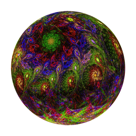 Abstract fractal ball with ornate pattern - computer-generated 3d illustration. Graphic design element. Christmas or New Year decoration.