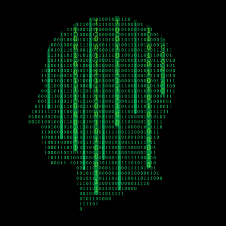 Human head silhouette, filled with binary code, zeros and ones. Vector illustration - artificial intelligence, sci-fi or data science concept. Technology icon, background or graphic design element. Иллюстрация