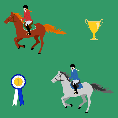Rider in uniform on a galloping horse, trophy and prize rosette - vector illustration in flat style or seamless pattern. For prints on clothes and wrapping paper. Equestrian theme.