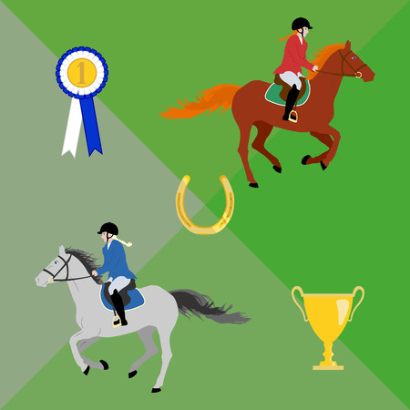 Female riders in sportswear: hacking jackets, breeches, boots and helmets. Riders gallop on horses. Equestrian theme composition with rosette and cup.