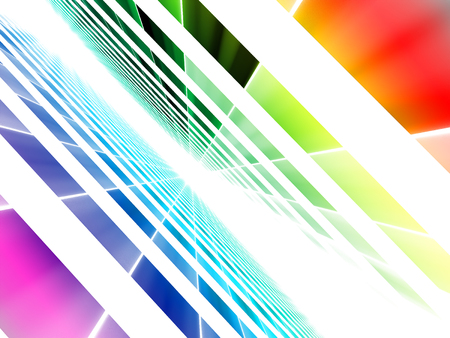 Simple diagonal background - computer-generated image. Abstract art: light inclined grid with perspective and rainbow gradient. For techology, science fiction design projects.