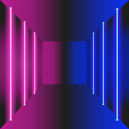 Vintage blue purple perspective background, great design for any purposes. Vector illustration with neon glowing vertical stripes and reflection. For web design, banners, flyers.
