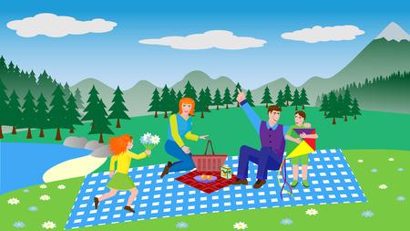 Giovane famiglia su un picnic - illustrazione vettoriale in stile piatto
