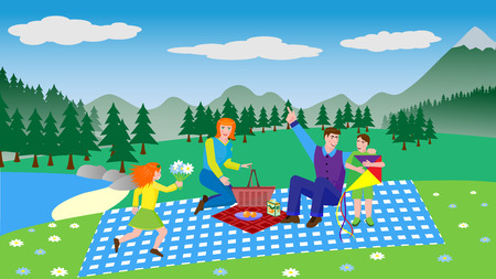 Young family on a picnic - vector illustration in flat style