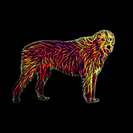 Futuristic dog portrait - irish wilfhound with neon glowing fur